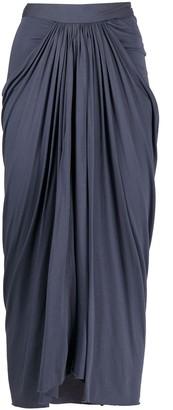 Rick Owens Lilies Draped Midi Skirt