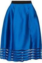 Sachin + Babi Toni Laser-Cut Satin-Twill Skirt