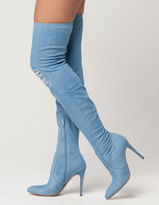 DELICIOUS Destructed Denim Over The Knee Boots