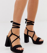 Design DESIGN Wide Fit Walker platform block heeled sandals in black