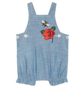 Gucci Baby chambray overall with embroidery