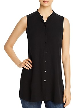 Eileen Fisher Petite System Silk Band-Collar Sleeveless Shirt