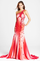 Blush Lingerie P024 Asymmetric Floral Embellished Evening Gown