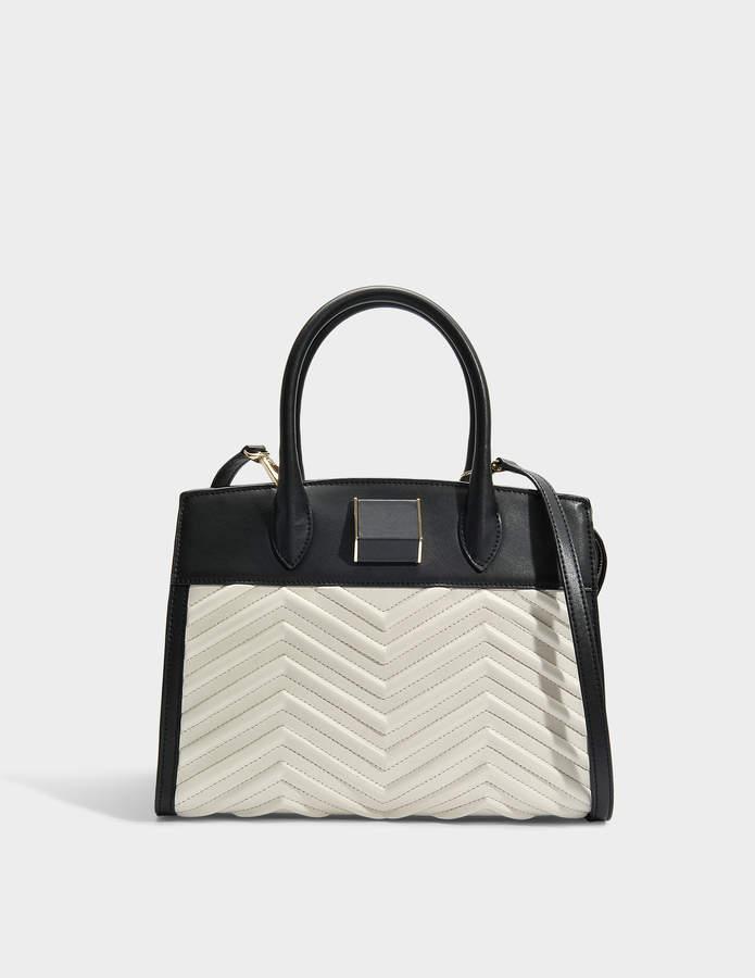 DKNY Sharon Satchel Bag in Black Ivory Lamb Nappa