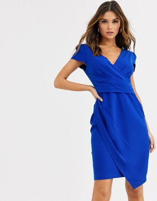 Paper Dolls cap sleeve wrap dress