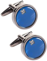 K&S KS-KSC008 Men's Luxury Bussines Dress Vintage Blue Black Copper Round Cufflinks + Gift Box