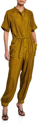 Tanya Taylor Francis Dot-Print Short-Sleeve Jumpsuit