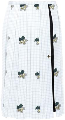 Victoria Beckham Pleated Printed Satin-crepe Skirt