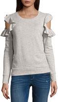Arizona Ruffle Cold Shoulder Sweatshirt-Juniors