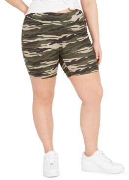 Full Circle Trends Trendy Plus Size Camo-Print Biker Shorts