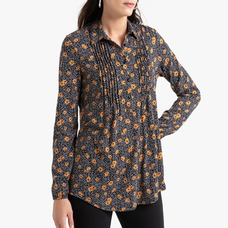 Anne Weyburn Cotton Mix Floral Print Tunic with Pleats