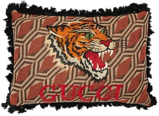 Gucci Tweed Pillow W/ Embroidered Tiger & Logo