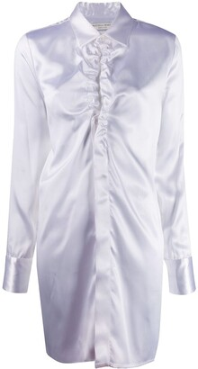 Bottega Veneta Ruffled-Neckline Long-Line Shirt