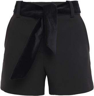 Maje Velvet-trimmed Crepe Shorts