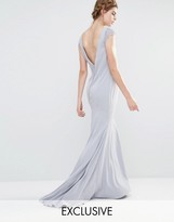Jarlo Wedding Fishtail Maxi Dress with Lace Cap Sleeve and Button back