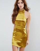 Missguided Metallic Halterneck Mini Dress