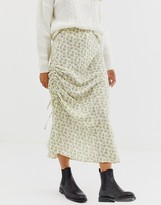 Asos Design DESIGN ruched side bias midi skirt in ditsy floral