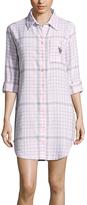U.S. Polo Assn. White & Blue Plaid Button-Up Night Dress
