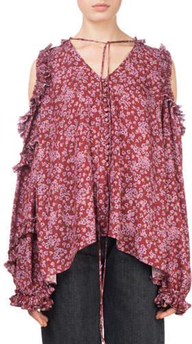 Magda Butrym Rijeka Floral-Print Open-Shoulder Silk Blouse w/ Ruffled Trim