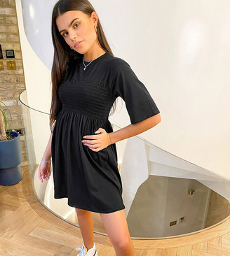 Fashionkilla Petite oversized t-shirt dress with sheering detail in black