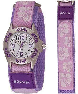Ravel Girl's Hibiscus Flower Patterned Easy Fasten Strap Watch - Blue