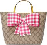 Gucci Children's GG Supreme check bow tote