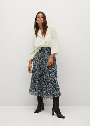 MANGO Pleated floral skirt
