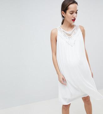 Mama Licious Mamalicious sleeveless lace insert woven mini dress in white