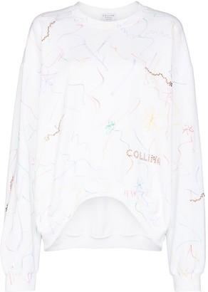 Collina Strada Scribble-Detail Logo-Print Sweatshirt