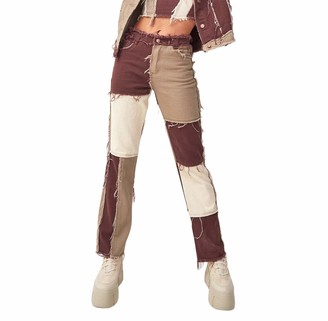 QPALZM Women's Stretchy High Waisted Patchwork Straight-Leg Jeans Raw Edge Color Block Distressed Pencil Denim Pants (Brown M)