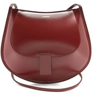 Jil Sander Logo-embossed Small Leather Shoulder Bag - Burgundy