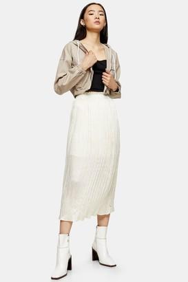 Topshop Womens Cream Crushed Satin Pleated Skirt - Cream