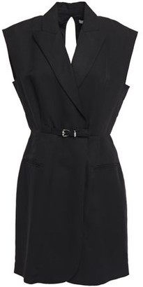 Sandro Camelie Wrap-effect Belted Twill Mini Dress
