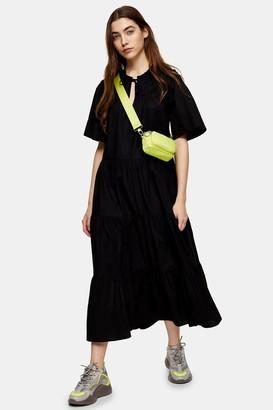 Topshop Black Poplin Smock Midi Dress