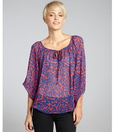 Romeo & Juliet Couture blue and red printed chiffon tie neck blouse