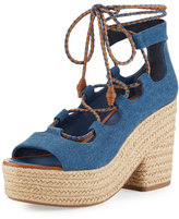 Tory Burch Positano Lace-Up Espadrille Sandal, Blue