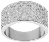 Journee Collection 1 1/3 CT. T.W. Round-cut CZ Pave Set Wide Polished Wedding Band in Sterling Silver
