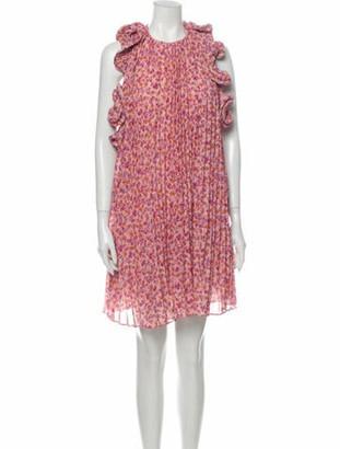 AMUR Floral Print Mini Dress Pink Floral Print Mini Dress