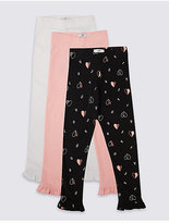 Marks and Spencer 3 Pack Cotton Leggings with Stretch (3 Months - 5 Years)