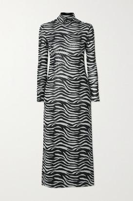 STAUD Brae Zebra-print Stretch-mesh Turtleneck Midi Dress