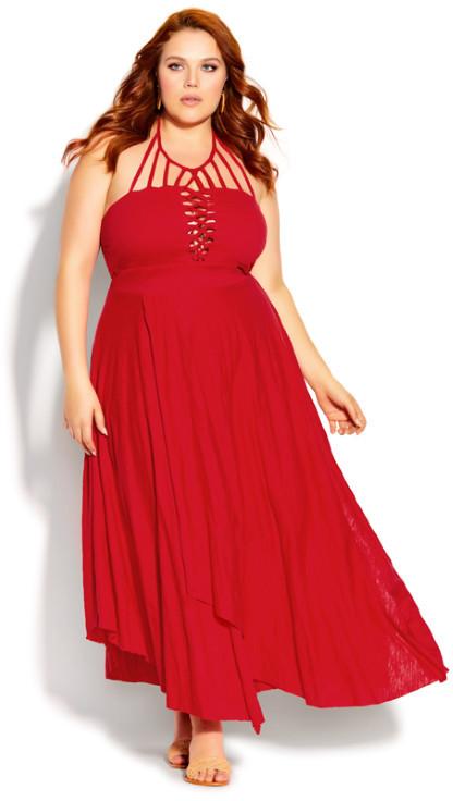 City Chic Plait Detail Maxi Dress - red