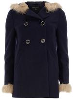 Dorothy Perkins Navy fur premium duffle coat