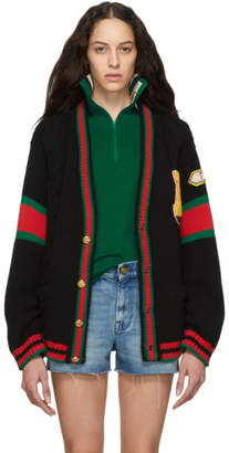 Gucci Black Oversized Varsity Cardigan