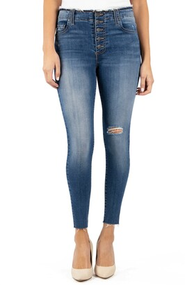 KUT from the Kloth Connie High Rise Raw Hem Ankle Skinny Jeans