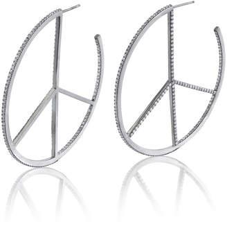 Sheryl Lowe Diamond Peace Hoop Earrings