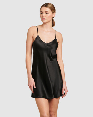 Ginia Women's Black Chemises - Silk V-Neck Chemise - Size One Size, 8 at The Iconic