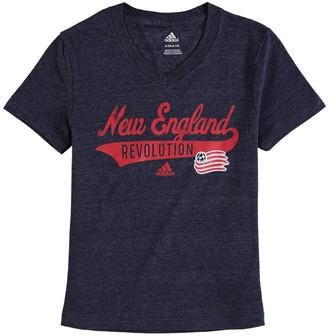 adidas Girls Youth Navy New England Revolution Tail Stack V-Neck T-Shirt