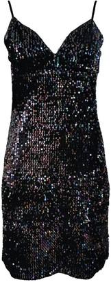 Lalipop Design Sequined Black Velvet Mini Dress