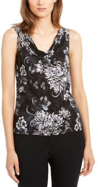 Nine West Sleeveless Floral Draped Top