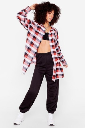 Nasty Gal Womens Right on Line Oversized Check Shirt - Pink - S